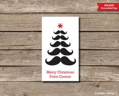 Mustache Printable Personalized Christmas Tags Holiday Labels