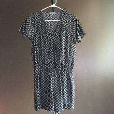 Short Sleeve romper Worn once navy and beige patterned short sleeve romper Other