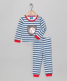 Take a look at this Blue & White Baseball Pajama Set - Toddler by Mud Pie on #zulily today!