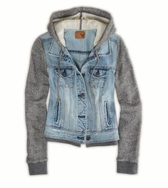 Grey cotton sleeves #denim vest #hoodie #jacket by American Eagle outfitters.