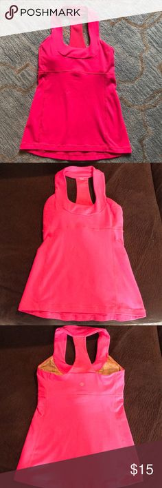 Lululemon Tank Neon pink tank top; used condition, but good shape with minimal pilling; size 4 lululemon athletica Tops Tank Tops