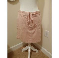 LOFT Pink Skirt LOFT comfy casual skirt. Cotton spandex blend. Hits above knee. Ribbon belt which is removeable if desired. LOFT Skirts Midi