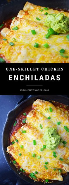 Easy and delicious chicken enchiladas recipe made in a single cast iron skillet for easy cleanup.
