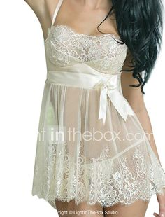 cfe3591c5a2 Women s Lace Super Sexy Babydoll   Slips   Chemises   Gowns   Lace Lingerie  Nightwear Solid Colored