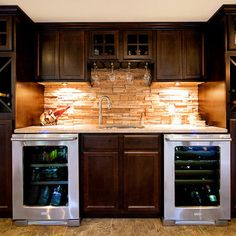 Double Beverage Coolers  Custom Wet Bar   Contemporary   Basement   St  Louis   Fulford Home Remodeling