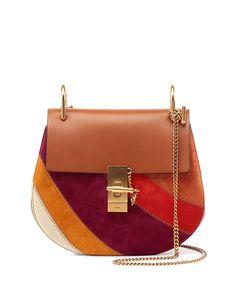Drew Patchwork Suede Shoulder Bag, Caramel - Chloe