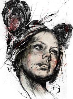 Excellent Abstract Illustration by Russ Mills Art And Illustration, Art Illustrations, Illustrator, L'art Du Portrait, Abstract Portrait, Art Graphique, Art Design, Artwork Design, Contemporary Paintings