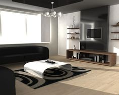 Classy Elegant Apartment Living Room With Modern Black Sofa And Curves White Coffee Table Design Over Patterned Rug Also Wooden Wall Shelves And Wall Mounted Tv Installed On Sleek Black Wall Panel Over Wood Cabinet
