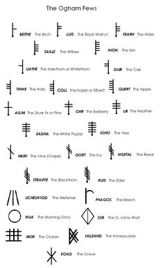 The Ogham Fews also known as tree runes or Druidic runes are a wonderful tool to use to help sentient beings heal make decisions grow handle problems transform energies and evolve. Celtic Symbols And Meanings, Rune Symbols, Magic Symbols, Viking Symbols, Viking Runes, Ancient Symbols, Egyptian Symbols, Celtic Meaning, Glyphs Symbols