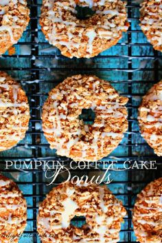 My Pumpkin Coffee Cake Donuts are the perfect recipe to indulge your pumpkin spice cravings! Baked, not fried, these pumpkin cake donuts are topped with a cinnamon streusel and lightly glazed for the ultimate breakfast treat! Pumpkin Spice Waffles, Pumpkin Coffee Cakes, Pumpkin Dessert, Pumpkin Breakfast, Fall Breakfast, Baked Pumpkin, Pumpkin Recipes, Fall Recipes, Pumpkin Pumpkin