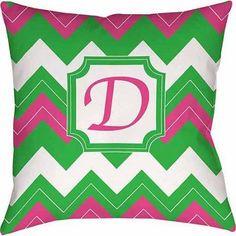 Thumbprintz Chevron Monogram Decorative Pillow, Fuchsia, Pink