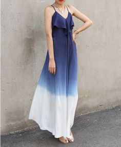 Strappy Dress with V Neckline in Gradient Color - Dresses - Clothing