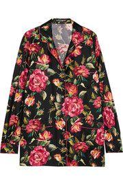 Floral-print silk-twill shirt