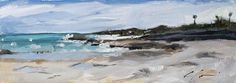 Bermuda Coast, Rocky Beach, Original Painting by Clair Hartmann