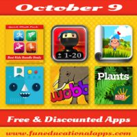 Check out what's free and discounted for your kids today! TOP 3: A great offer on a Top math bundle with 4 apps for the price of 1!!! A cool storybook app and a fun math game app for boys. We also have 2 free apps by Duckie Deck, a price drop on top educational series Kids Discover and more! Have fun with apps! #kidsapps   #freeapps   #edapp   #iPaded   #appdeals   http://www.funeducationalapps.com/2014/10/best-apps-for-kids-free-and-discounted-for-october-9.html