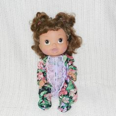 Pajama or Playsuit fits Baby Alive and other 12 inch baby dolls Baby Alive Doll Clothes Pink and Purple Floral Baby Alive clothes 12 inch doll clothes baby doll clothes doll pajamas pink doll pajamas pink doll pj's creative play realistic play child friendly 12 inch baby doll pink and purple pj's lavender doll pj's pink floral pajamas 6.50 USD #goriani