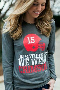 729beb386090 On Saturday We Wear Crimson Women s Gameday Alabama Long Sleeve T-shirt  University of Alabama Crimson Tide Roll Tide Roll - mens cotton shirts