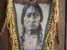 Native American Sitting Bull Portrait Beaded On A by LJGreywolf