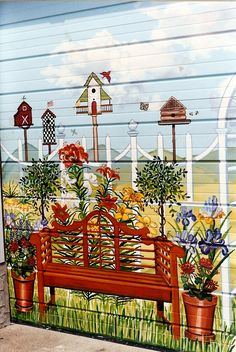 Country Garden Garage Door Mural For Backyard Of home In Baldwin, New York Diy Wall Painting, Mural Painting, Fence Painting, Paintings, Garden Crafts, Garden Projects, Diy Projects, Painted Shed, Painted Fences