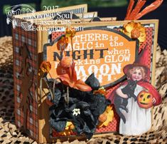 I'm here to share a little mini . and that's where the oxymoron comes in. This is a Frank Garcia designed mini that me. Halloween Mini Albums, Halloween Scrapbook, Halloween Books, Halloween Cards, Vintage Halloween, Cute Borders, Fall Banner, Simple Stories, Graphic 45