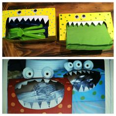 My creation on the top! Monster themed party Use tissue boxes for utensils and napkins, very smart!