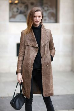 This model off duty moment takes the leather jacket to long places.   - HarpersBAZAAR.com