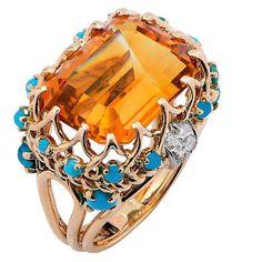 1990s Faux Turquoise Citrine Diamond Gold Ring jm
