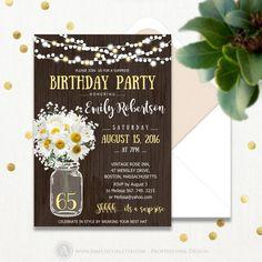Surprise Birthday Invitations Printable Mason Jar & Daisy Rustic 65th Birthday Party Invites INSTANT DOWNLOAD Editable Adult Birthday Invite
