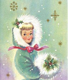 Vintage Christmas Card Girl Snow Muff Ribbon by antiquewhisperer