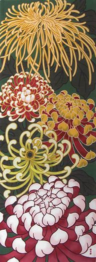 Kiku Bloom Tenugui - KIKU (Chysanthemum) is a Japanese national flower.
