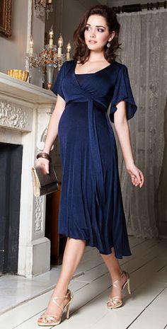Cocoon Nursing Dress (Velvet Blue) by Tiffany Rose