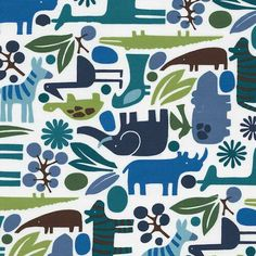 Modern Zoo Fabric - This is what I want to use to make his crib skirt!  Now, I just need a sewing machine!