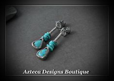 Pretty Lady~ Kingman and Campitos Turquoise Artisan Dangle Post Earrings by AztecaDesignsBoutique, $75.00 USD