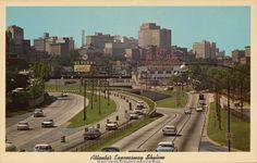 ATLANTA Downtown Skyline c1960s. Taken from North Avenue Bridge.