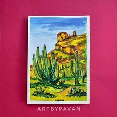 "@art_by_pavan: ""Gouache Art : Fertile Desert 🎨Art collab with very talented @_tuns_artistry_ , We decided on…"" Desert Art, St G, Insta Posts, Gouache, Painting, Idea Paint, Art Production, Painting Art, Paintings"
