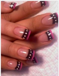 Nail art, black tips, black and pink tips,