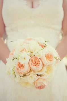 my peach + white garden rose, white hydrangea and white freesia bouquet from our 1st anniversary shoot ] photo by This Modern Romance
