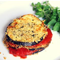 eggplant parmesan stack- a recipe from 28 Day Diabetes Diet Meal Planner