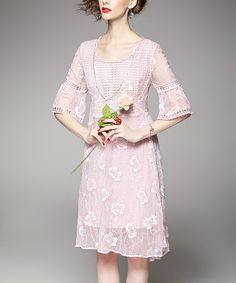 Another great find on #zulily! Pink Textured Floral Silk-Blend Dress #zulilyfinds