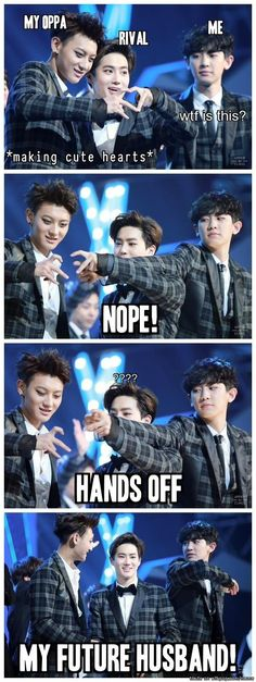 LOL Suho and Chanyeol fight over the other half of Tao's heart: