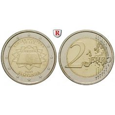 Slowenien, 2 Euro 2007, bfr.: 2 Euro 2007. 50 Jahre Römische Verträge. bankfrisch 32,00€ #coins