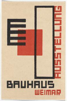 """Kurt Schmidt, """"Bauhaus Ausstellung Weimar Juli–Sept, 1923, Karte 18"""" (1923), lithograph, 5 7/8 × 3 15/16 inches"""