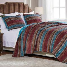 Southwestern Lodge Stripe Teal Brown Quilt Set