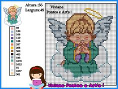 Cross Stitch Owl, Cross Stitch Angels, Cross Stitch Patterns, Machine Embroidery Designs, Embroidery Stitches, Stitch And Angel, Graph Paper Art, Crochet Angels, Christmas Cross