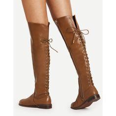 476a96489b SheIn(sheinside) Lace Up Back Knee High PU Boots ($49) ❤ liked