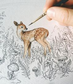 A little deer in the nature Vogel Illustration, Art And Illustration, Watercolor Illustration, Watercolor Art, Painting Inspiration, Art Inspo, Animal Drawings, Art Drawings, Drawing Sketches