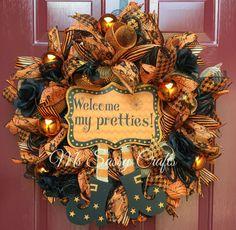 Halloween Wreath - Witch Deco Mesh Wreath - Halloween Deco Mesh Wreath - Orange and Black Wreath - Welcome My Pretties Wreath by MsSassyCrafts on Etsy https://www.etsy.com/listing/244183288/halloween-wreath-witch-deco-mesh-wreath