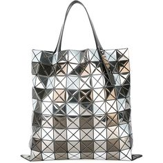 Bao Bao Issey Miyake triangles tote bag (£1,570) ❤ liked on Polyvore featuring bags, handbags, tote bags, grey, tote handbags, grey purse, gray tote, pvc tote bag and metallic tote handbags