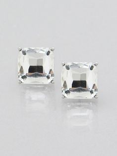 "Clear Square Crystal Stud Silver Tone Fashion Jewelry Women Earrings 1/2""  #DazzledByJewels #Stud #Crystal #Wedding #Bridal #Fashion #Jewelry #Earring"