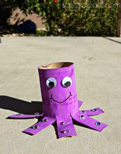 5 Purple Projects to Make with Kids: Octopus Toilet Paper Roll Craft